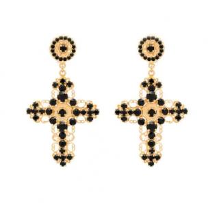Dolce & Gabbana Crystal-Embellished Cross Earrings