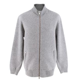 Brunello Cucinelli Grey Wool&Cashmere Zip Up Cardigan