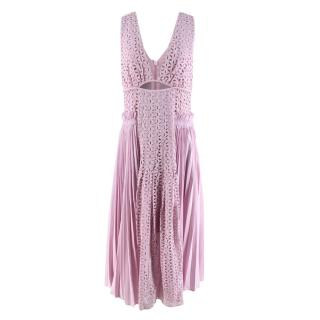 Self-Portrait Pink Broderie-Anglaise and Pleated-Panel Midi Dress