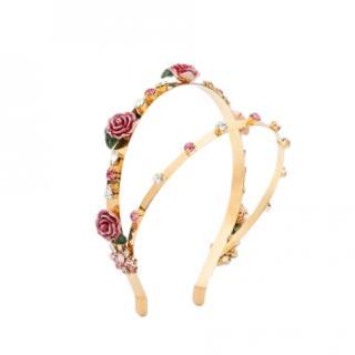 Dolce & Gabbana Floral Embellished Double Band Hairband