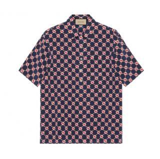 Gucci Men's GG hexagon silk crepe bowling shirt