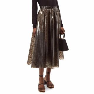 MSGM Leopard Print PVC A-Line Skirt