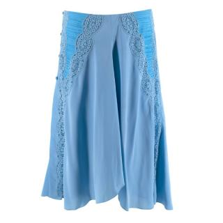 Chloe Crochet-Paneled Ruched Silk Crepe de Chine Skirt