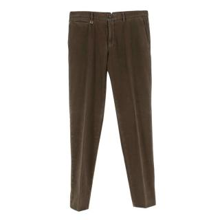Ermenegildo Zegna Brown Cotton Blend Flannel Trousers
