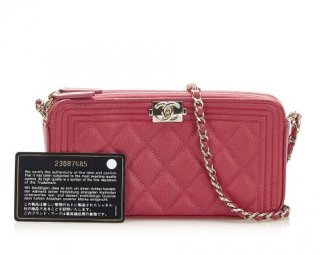 Chanel Red Quilted Double Zip Boy Wallet on Chain