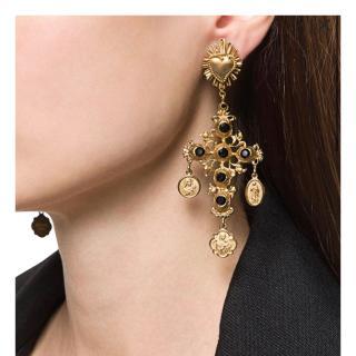 Dolce & Gabbana Black & Gold Cross Drop Earrings