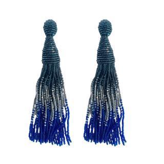 Oscar De La Renta Grey & Blue Ombre Tassel Earrings