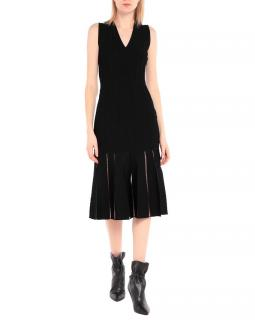 Alexander McQueen Black Pleated Midi Dress