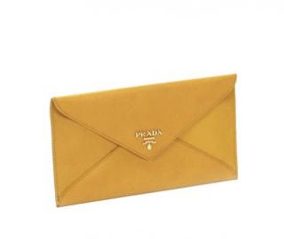 Prada Yellow Saffiano Leather Envelope Wallet