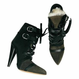 Isabel Marant Shearling Lined Bi-Colour Ankle Boots