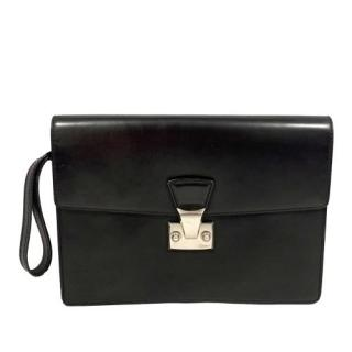 Cartier Black Leather Wristlet Clutch