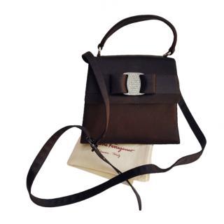 Ferragamo Vintage Satin Embellished Vara Crossbody Bag