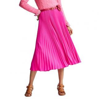 Polo Ralph Lauren Pink Satin Pleated Midi Skirt