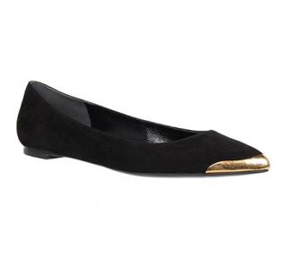 Alexander McQueen Black Suede Golden Cap-Toe Ballerinas