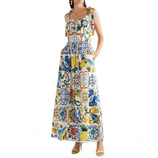 Dolce & Gabbana Majolica Print Self Tie Jumpsuit