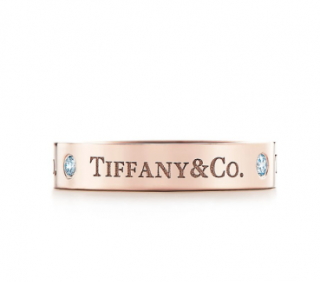 Tiffany & Co. 18kt Rose Gold Diamond Inscribed Band Ring