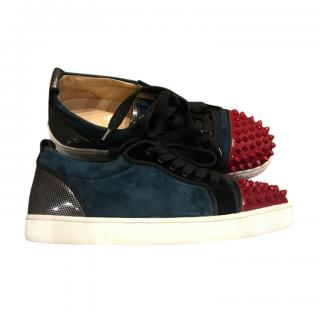 Christian Louboutin Suede & Patent Leather Spike Sneakers