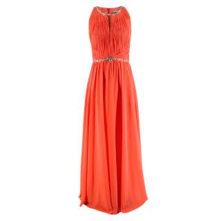 NR Gina Bacconi Pleated with Crystal Coral Long Dress