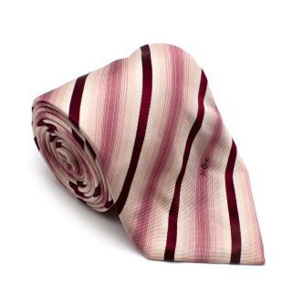 Louis Vuitton Red & Pink Striped Silk Tie