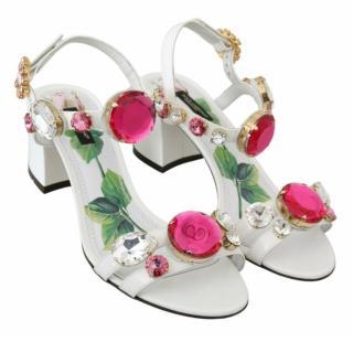 Dolce & Gabbana Rose Print White Crystal Embellished Sandals