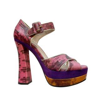 Miu Miu Pink Snakeskin Chunky Platform Sandals