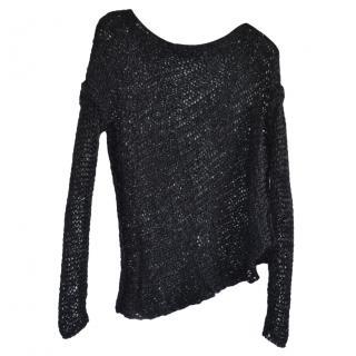 Isabel Benenato Black Open Knit Asymmetric Jumper