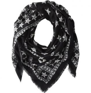 Givenchy Black Wool Star Print Scarf 140cm