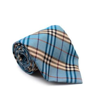 Burberry Blue Checkered Silk Tie