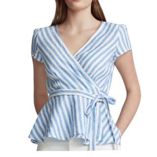Polo Ralph Lauren Linen Striped Wrap Top