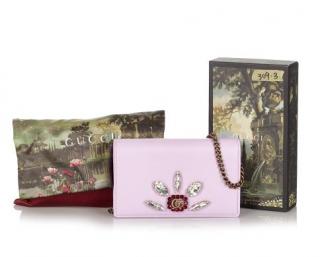 Gucci Calfskin Crystal Mini Double G Chain Wallet