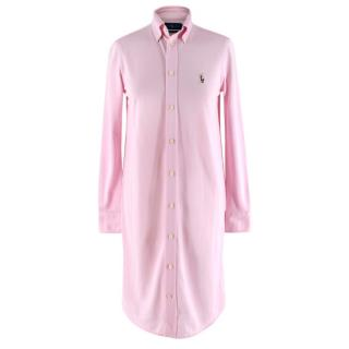 Ralph Lauren Pink Knit Cotton Oxford Long Shirtdress