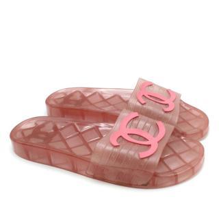 Chanel Pink Translucent CC Slide Sandals