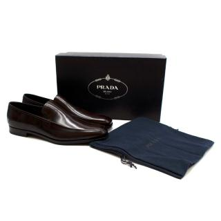 Prada Dark Brown Leather Loafers
