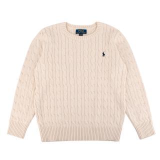 Polo Ralph Lauren Beige Cotton Cable Knit Sweater