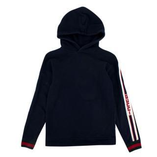 Gucci Navy Web Stripes Cotton Hoodie