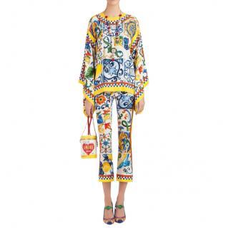 Dolce & Gabbana Carretto Print Blouse & Capri Pants