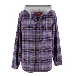 Supreme Purple Hooded Plaid Flannel Shirt
