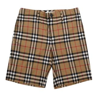 Burberry Checkered Cotton Shorts