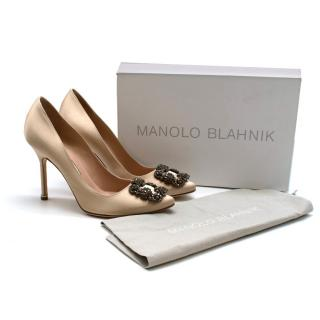 Manolo Blahnik Champagne Satin Hangisi 105mm Pumps
