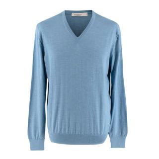 Ermenegildo Zegna Baby Blue V Neck Cashmere Sweater