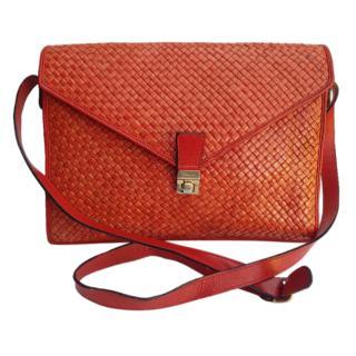 Ferragamo Red Vintage Intrecciato Envelope Crossbody Bag