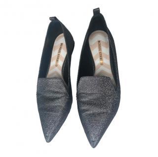Nicholas Kirkwood Silver Glitter Beya loafers