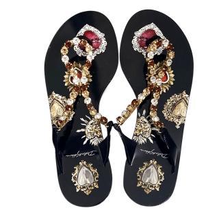 Dolce & Gabbana Sacred Heart Embellished Thong Sandals