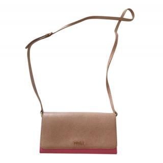 Furla Beige/Pink Leather Crossbody Wallet