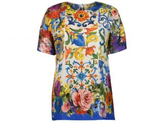 Dolce & Gabbana Floral Majolica Print Silk T--Shirt