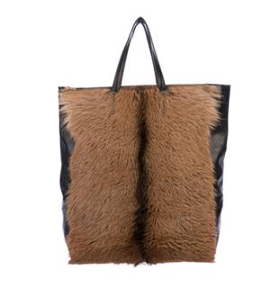 Celine Goat Fur & Leather Vertical Cabas Tote