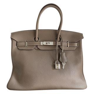 Hermes Etoupe Togo Leather Birkin 35 PHW