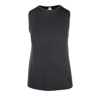 Hermes Black Sleeveless Virgin Wool Knit Top