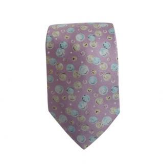 Hermes Pink Bubble Print Silk Tie