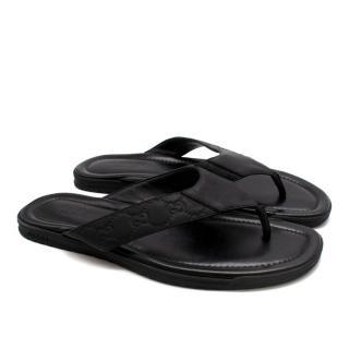 Gucci Black Monogram Leather Sandals